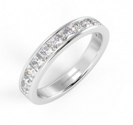 Wedding Ring UK Hallmarked 100/% Natural 1//2Ct Round Diamond Half Eternity Ring